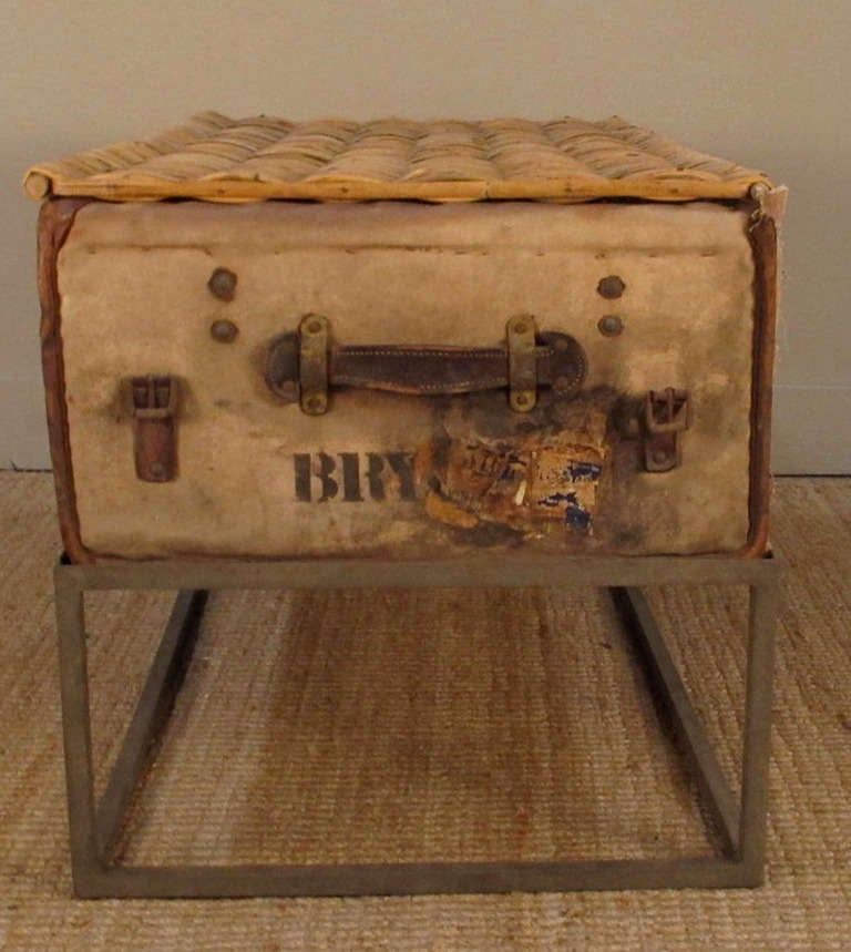 Auto Antique Wicker Trunks : Antique canvas and wicker trunk with iron stand at stdibs