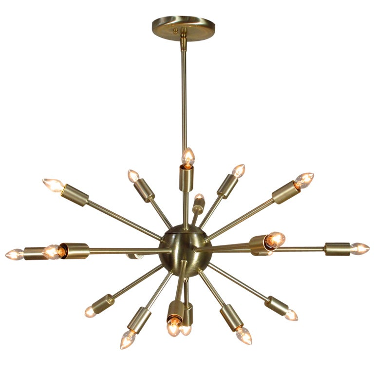 Vintage Inspired 18 Light Satin Brass Sputnik Chandelier ...