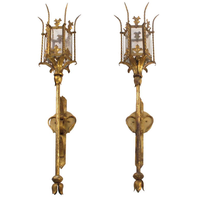Vintage Italian Gold Gilt Torch Sconces at 1stdibs