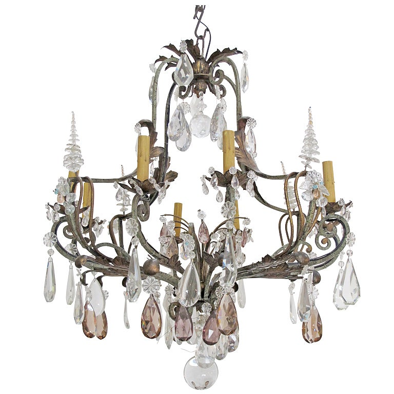 Antique Spanish Multi Colored Crystal Chandelier At 1stdibs