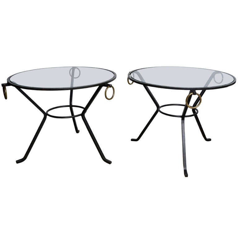 60 39 s black iron and glass pair of coffee tables at 1stdibs