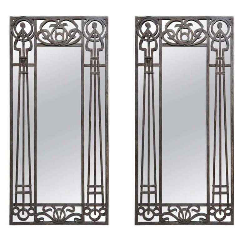 Tall pair of iron art nouveau mirrors france 1910s at for Black floor length mirror