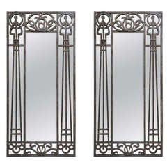 Tall Pair of Iron Art Nouveau Mirrors, France, 1910s