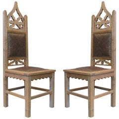 Pair of Tall Gothic Revival Chairs