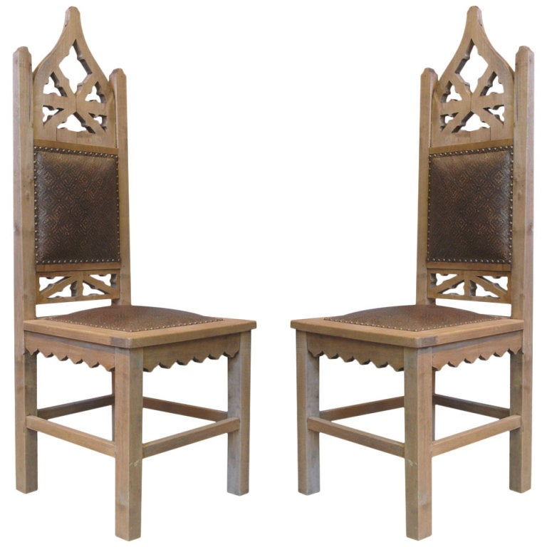 Pair of Tall Gothic Revival Chairs 1