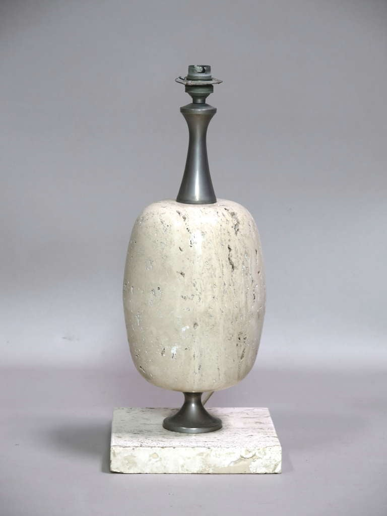 Mid-Century Modern Travertine Lamp by Maison Barbier - France, 1970's For Sale