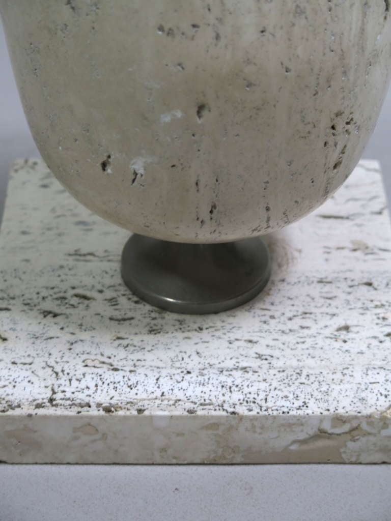 French Travertine Lamp by Maison Barbier - France, 1970's For Sale