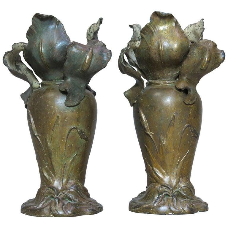 Pair of Art Nouveau Vases by Van de Voorde - Belgian, 1910s