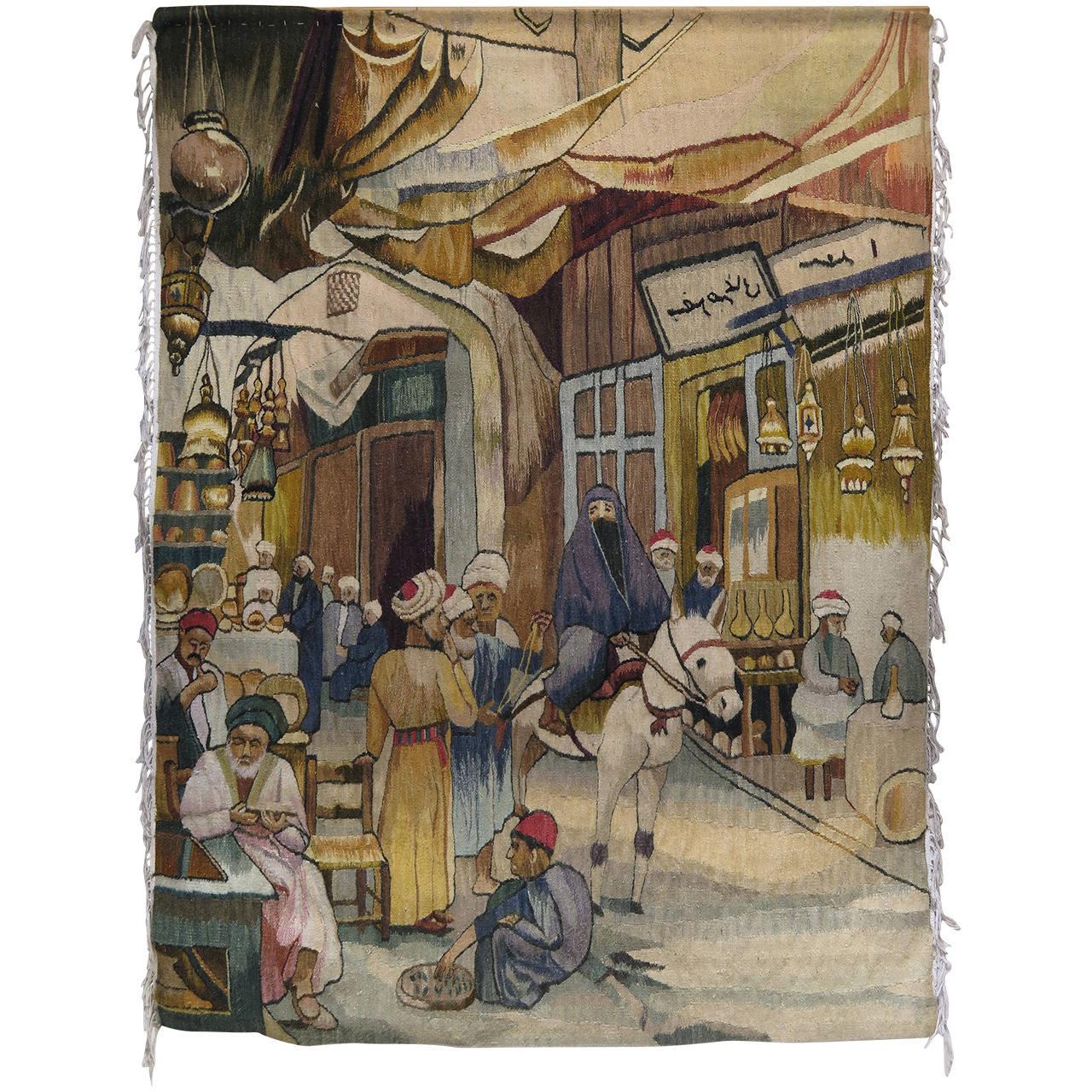 Oriental Tapestry Depicting a Street or Souk Scene