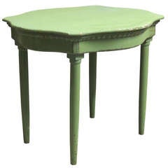 Small Serpentine Top Painted Table - France, 19th Century