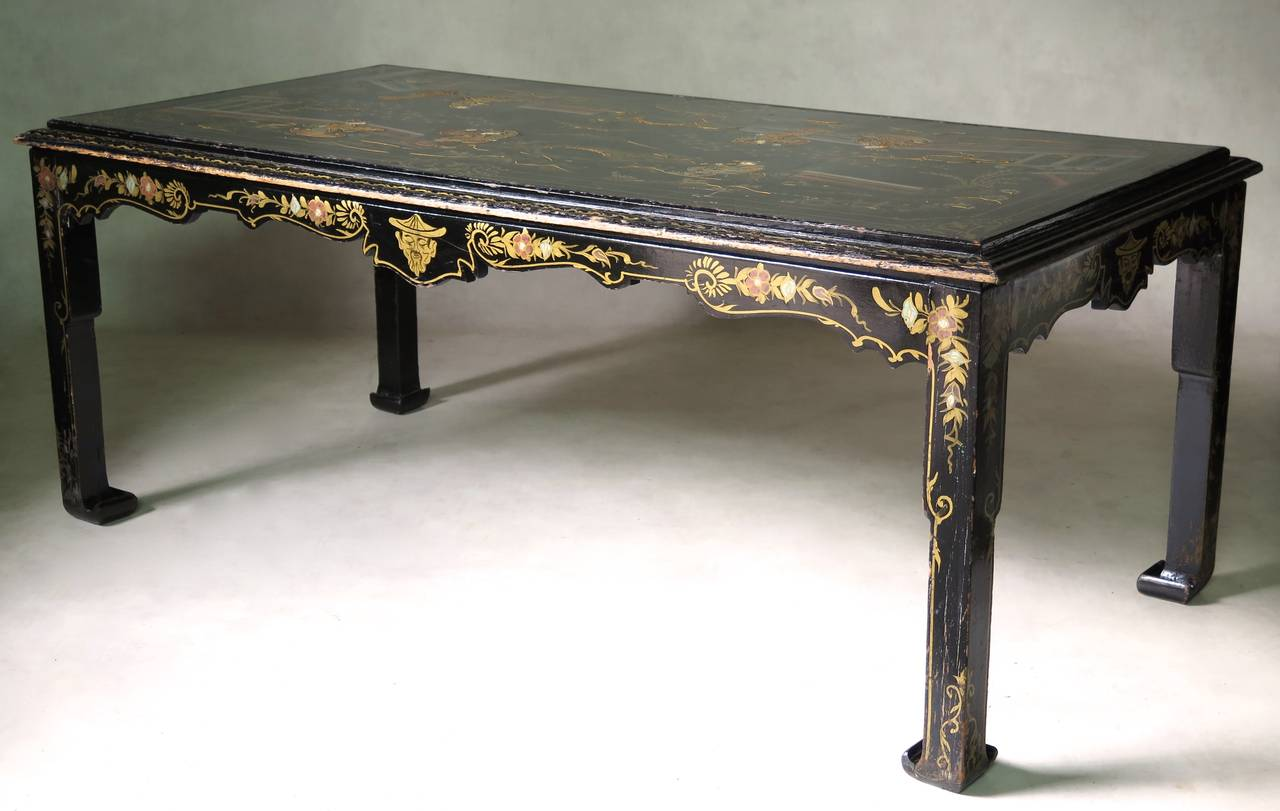 large chinese style lacquered dining table france 19th century