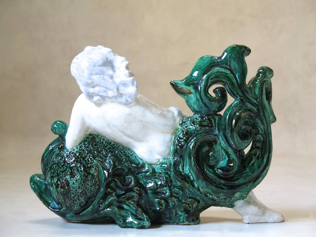 20th Century French Art Deco Glazed Ceramic Woman and Dolphin Sculpture For Sale