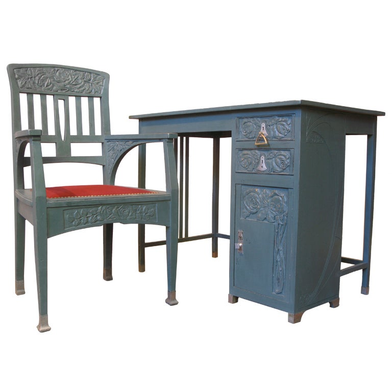 French Art Deco Desk & Chair