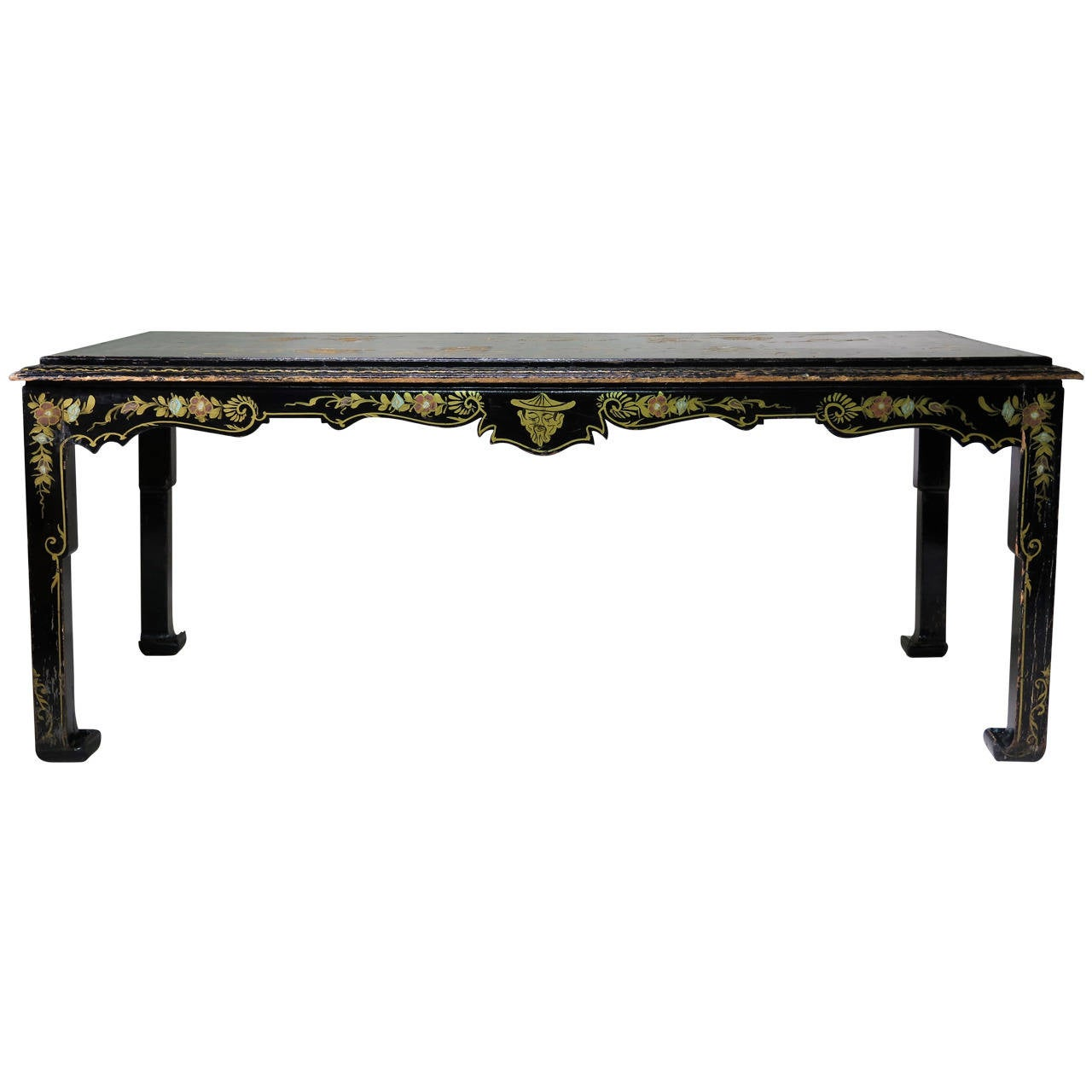 Large Chinese Style Lacquered Dining Table, France, 19th Century