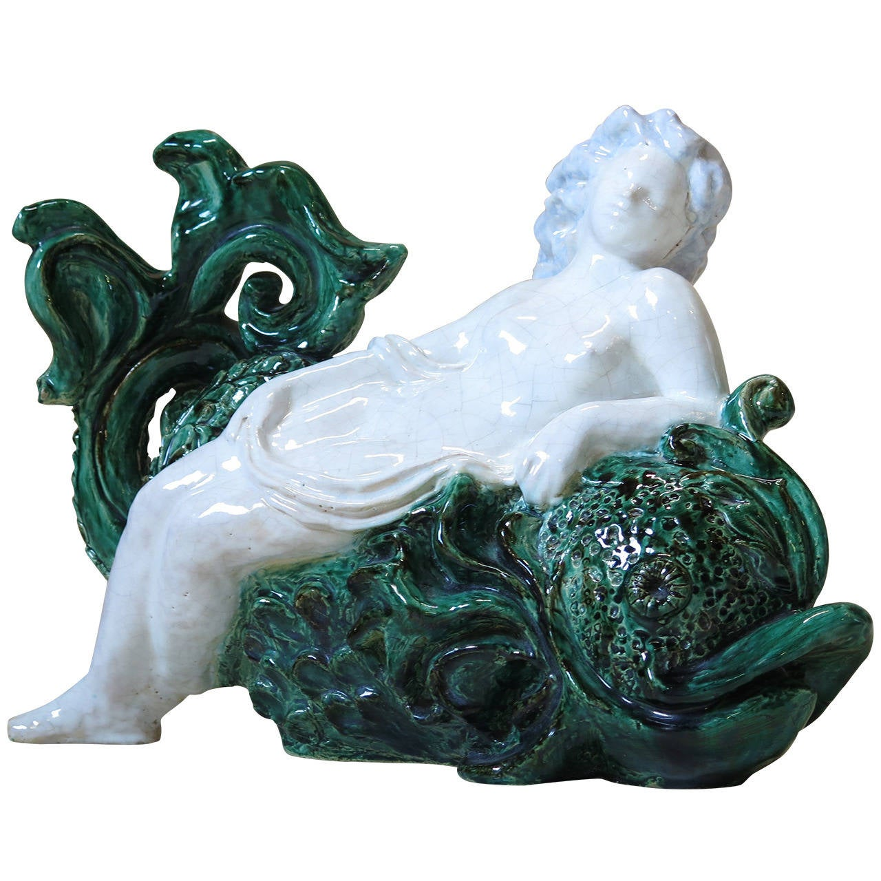 French Art Deco Glazed Ceramic Woman and Dolphin Sculpture For Sale