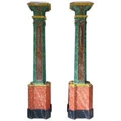 Monumental Pair of Marble Trompe L'Oeil Columns, France, 19th Century