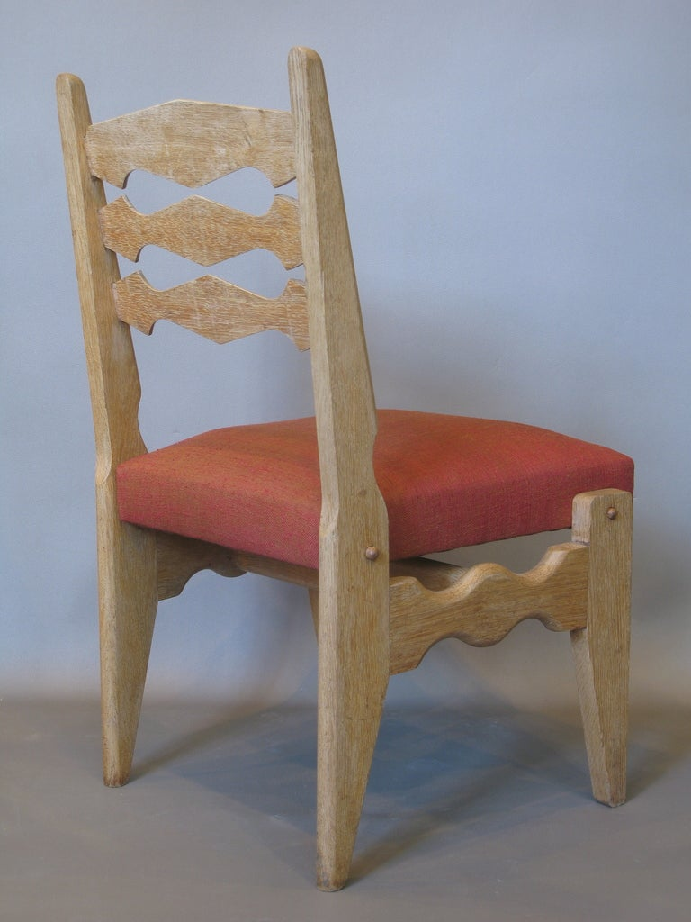 French Set of 4 Mid-Century Dining Chairs by Guillerme et Chambron For Sale