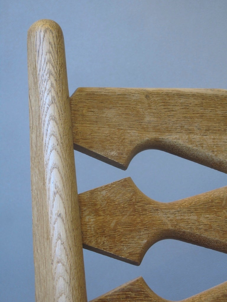 Set of 4 Mid-Century Dining Chairs by Guillerme et Chambron For Sale 3