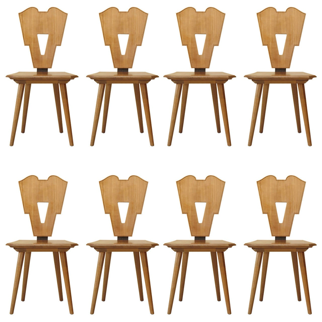 Set of Eight Art Deco Style Dining Chairs, France, circa 1950s-1960s