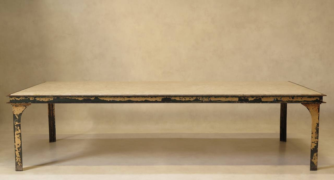 Large iron and stone coffee table france 1950s at 1stdibs for Stone and iron coffee table