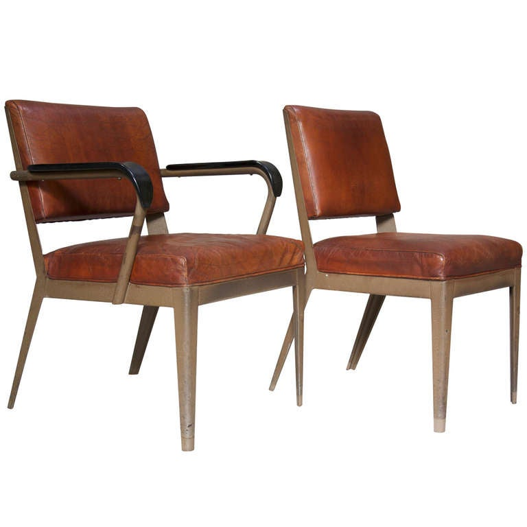 Leather-Upholstered Chair & Armchair - Spain, 1950s