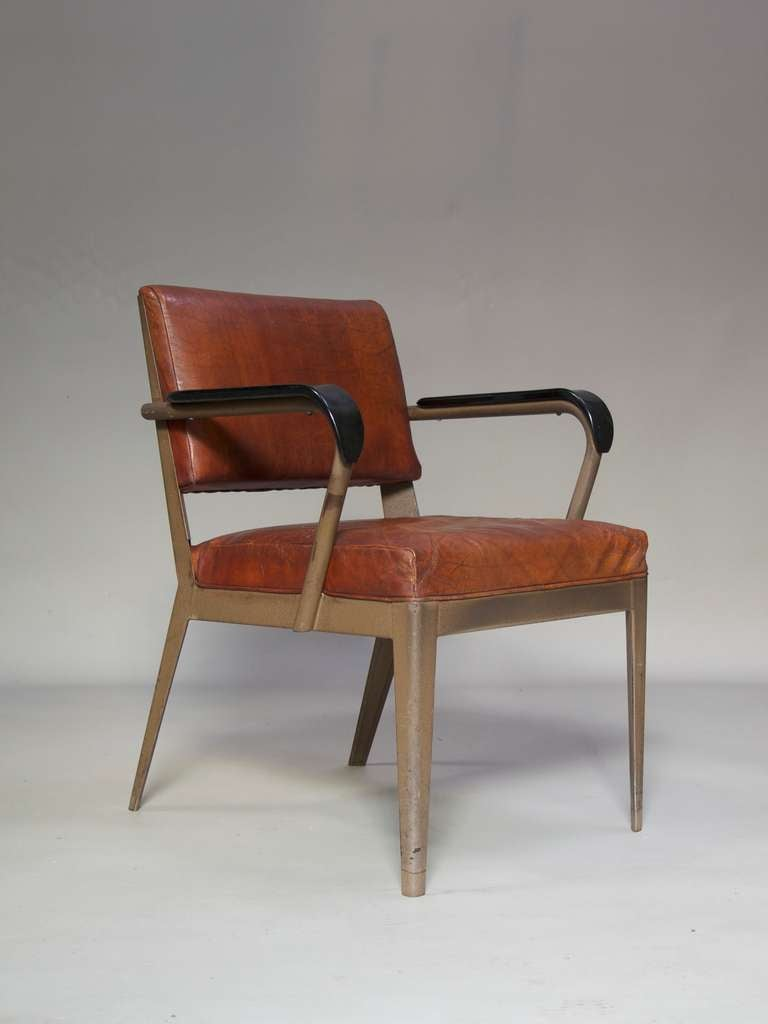 Mid-Century Modern Leather-Upholstered Chair & Armchair - Spain, 1950s For Sale