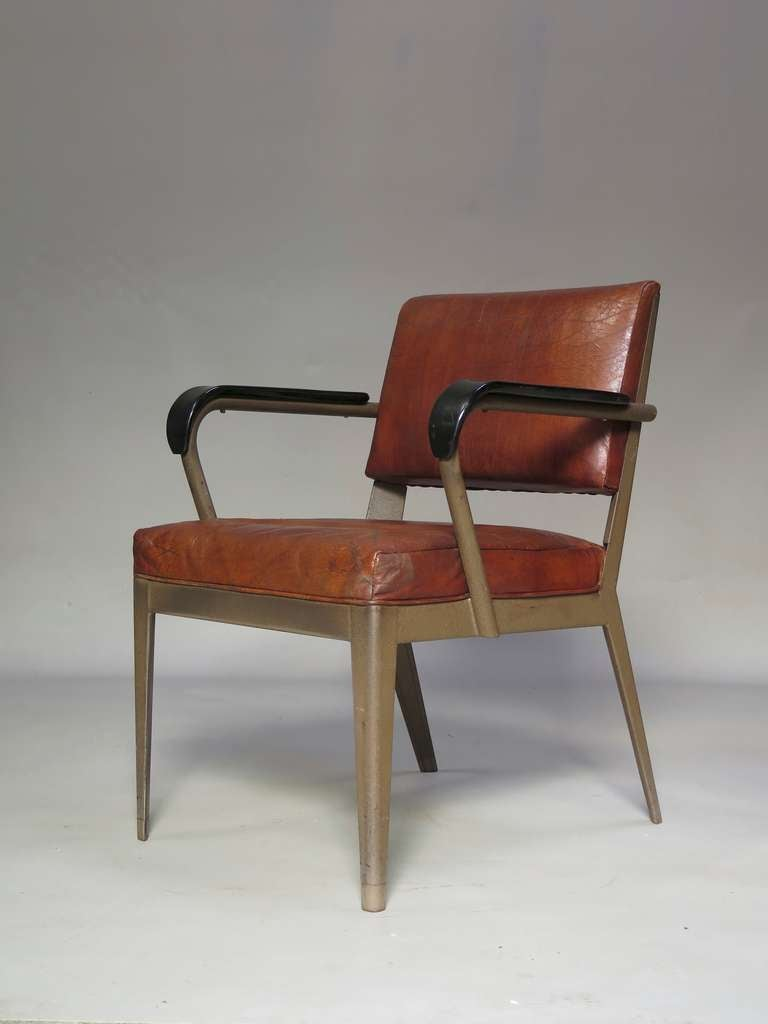 Spanish Leather-Upholstered Chair & Armchair - Spain, 1950s For Sale