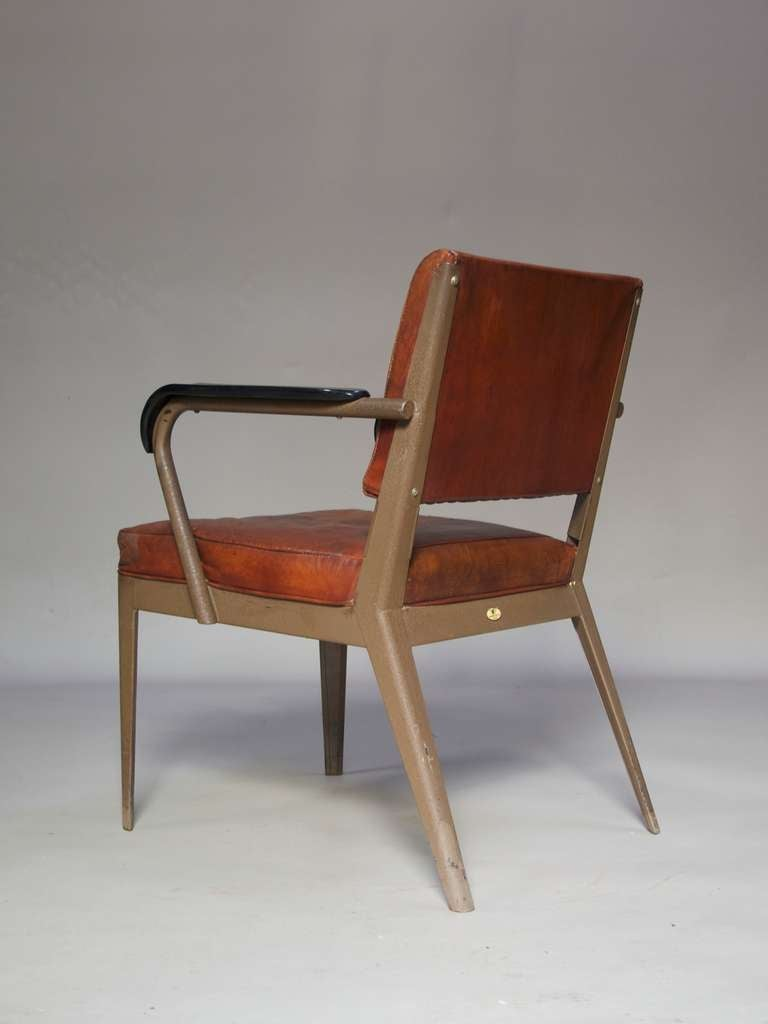 Mid-20th Century Leather-Upholstered Chair & Armchair - Spain, 1950s For Sale
