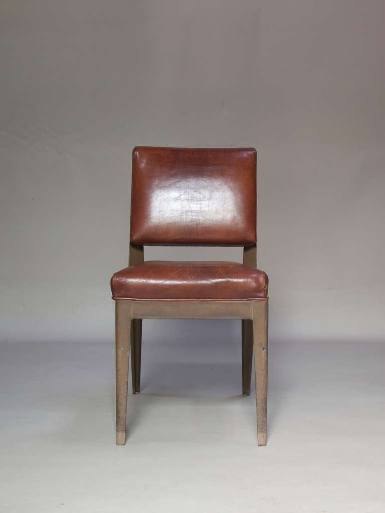 Leather-Upholstered Chair & Armchair - Spain, 1950s For Sale 1