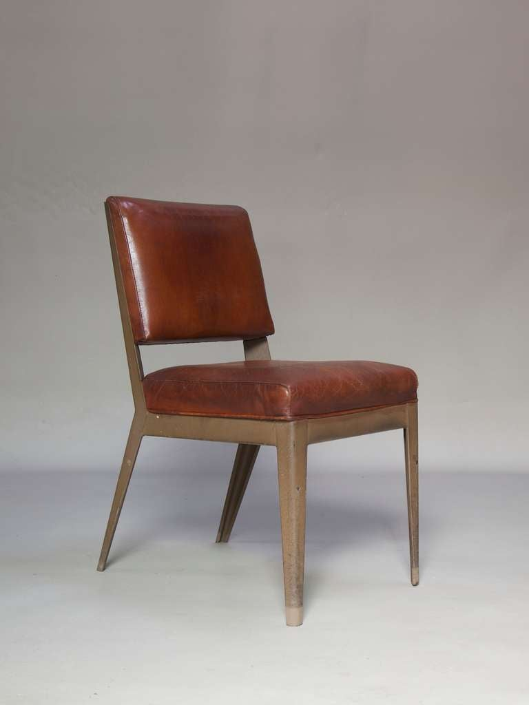 Leather-Upholstered Chair & Armchair - Spain, 1950s For Sale 2