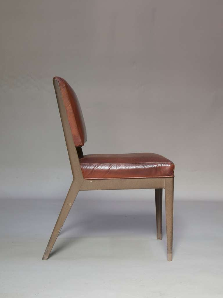 Leather-Upholstered Chair & Armchair - Spain, 1950s For Sale 3