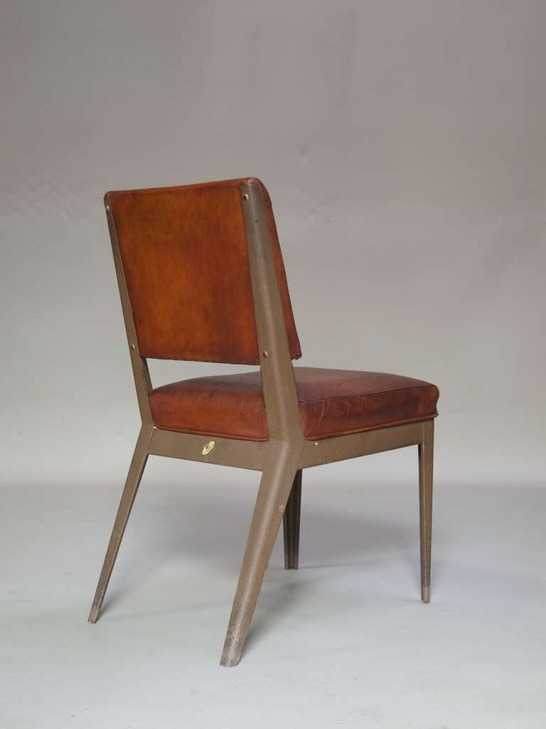 Leather-Upholstered Chair & Armchair - Spain, 1950s For Sale 4