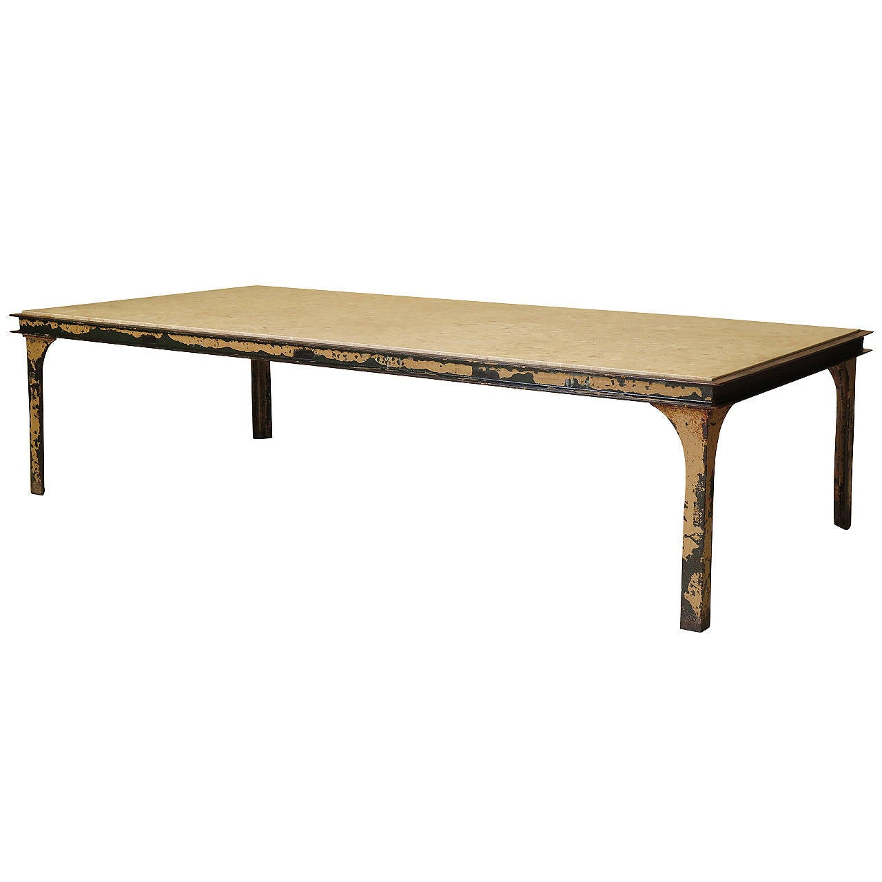 Large iron and stone coffee table france 1950s for sale Stone coffee table
