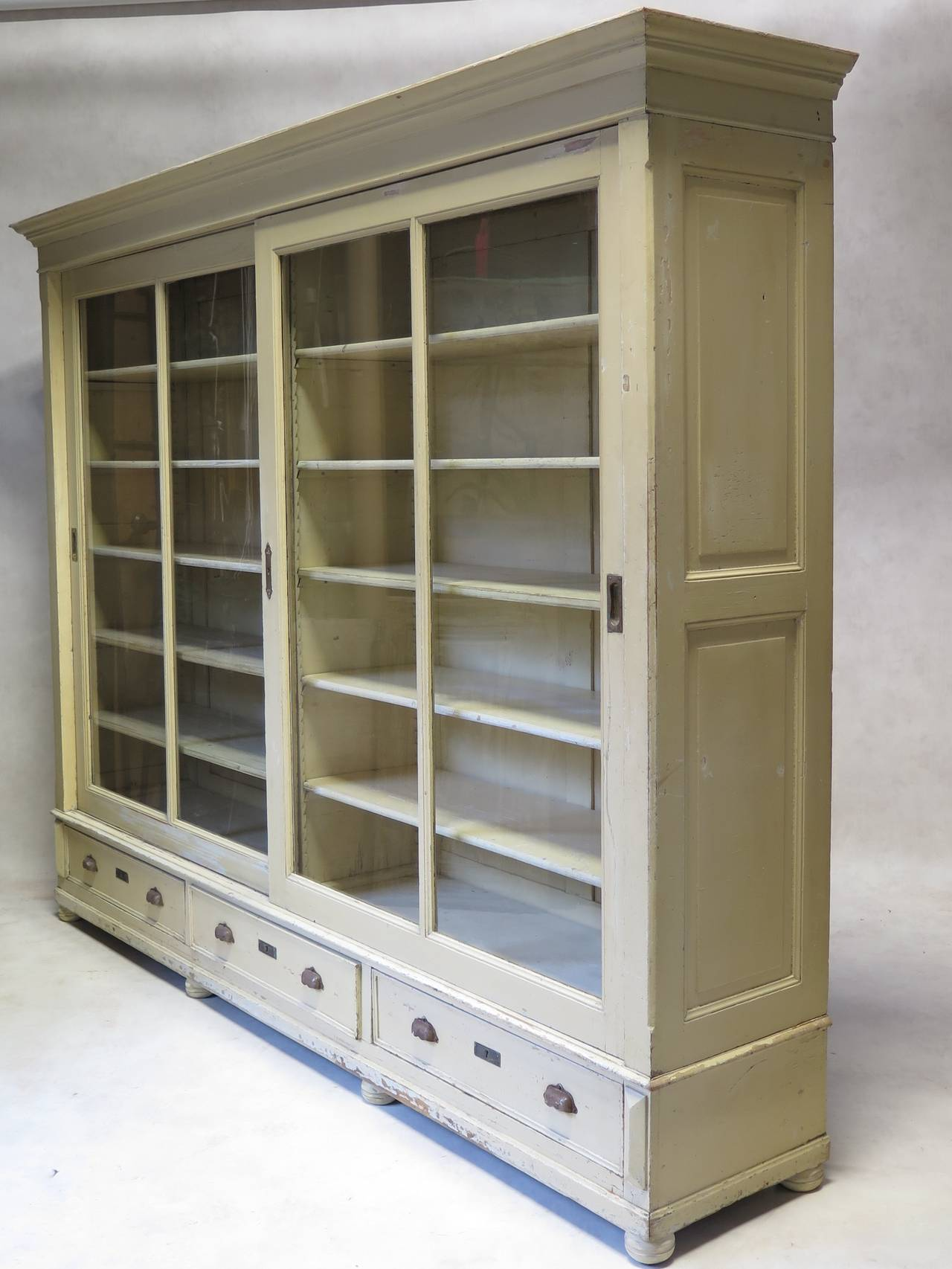 Elegant Bookcase With Sliding Glass Doors, France, Early 20th Century For  Sale 4