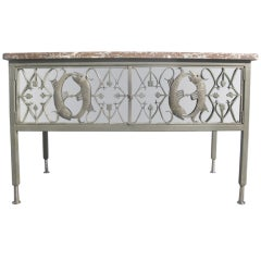 Fish Motif Mirrored Credenza/Drinks Cabinet with Marble Top