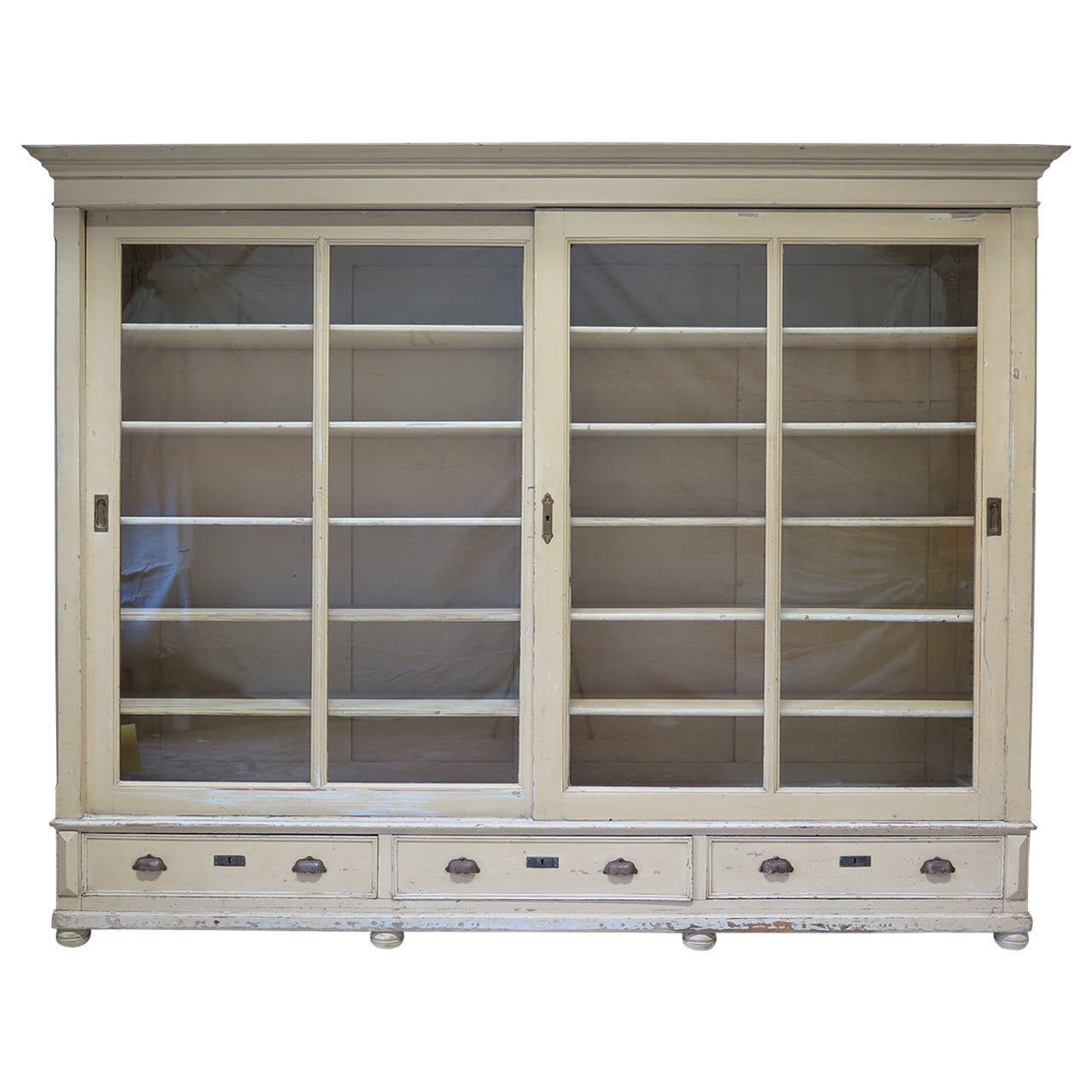 Elegant Bookcase With Sliding Glass Doors France Early 20th Century