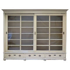Elegant Bookcase with Sliding Glass Doors, France, Early 20th Century