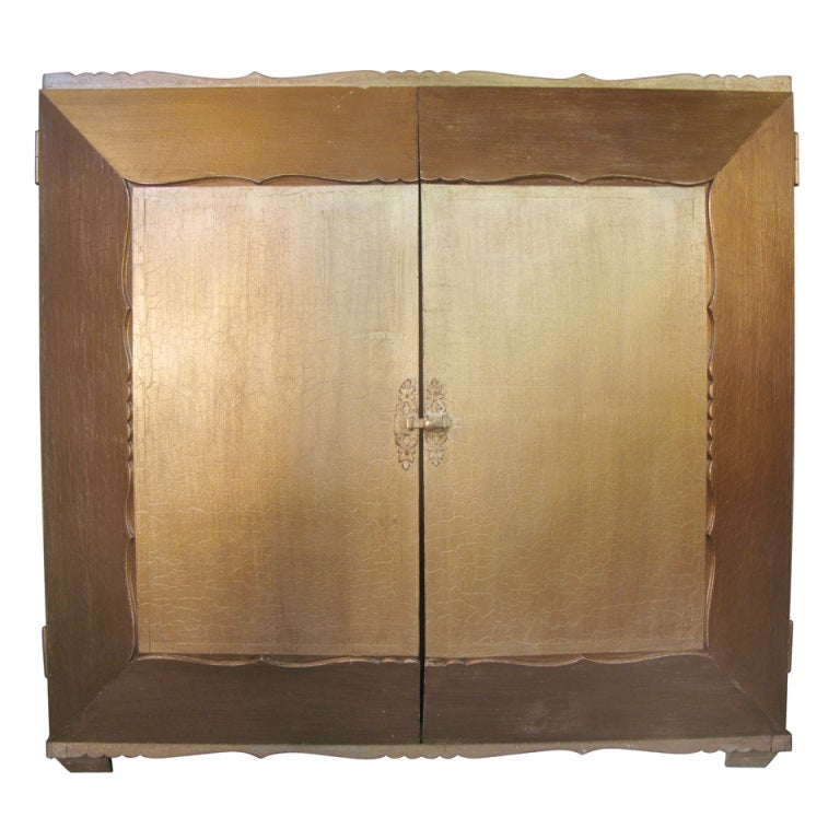 Unusual 3-D Gilded Armoire - France, 1940s