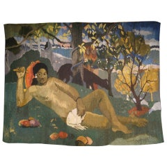 Very Large 1950s Tapestry of a Gauguin Scene