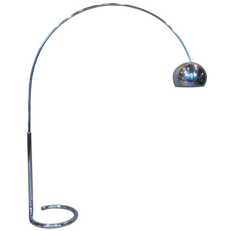 Chrome Arc Floor Lamp With Telescopic Arm