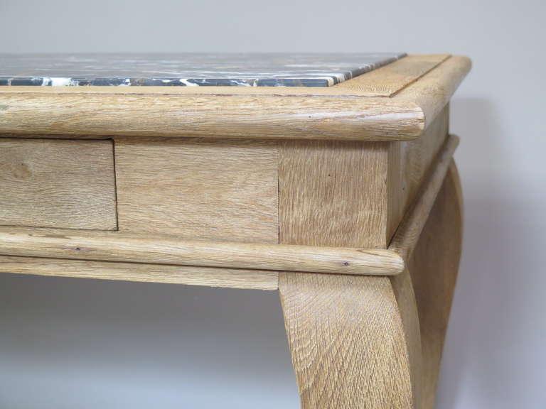 Mid-20th Century Chic Oak & Marble Console/Desks - France, 1940s  For Sale