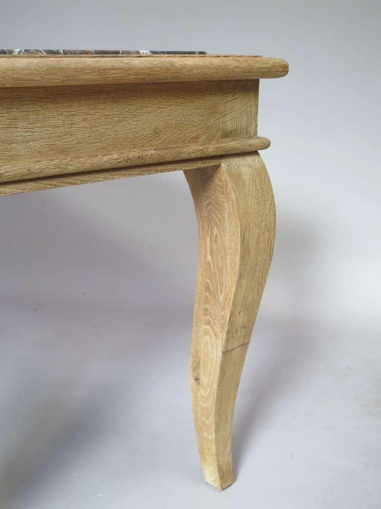 Chic Oak & Marble Console/Desks - France, 1940s  In Excellent Condition For Sale In Isle Sur La Sorgue, Vaucluse