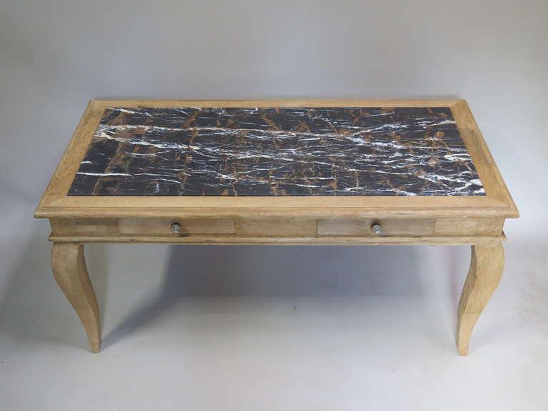Art Deco Chic Oak & Marble Console/Desks - France, 1940s  For Sale