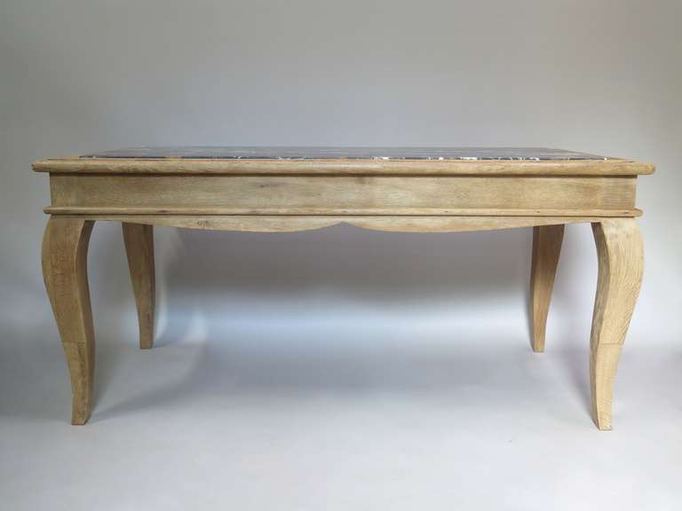 French Chic Oak & Marble Console/Desks - France, 1940s  For Sale