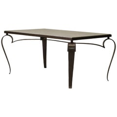 Gilt Iron and Marble Top Art Deco Coffee Table, France circa 1950s