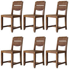 Set of Six Art Deco Dining Chairs, France 1940s