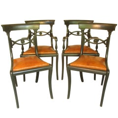 Set Of 4 Vintage Decoupage Metal Chairs At 1stdibs