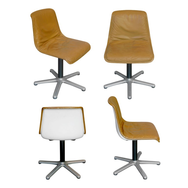 Set of Four Leather Mid-Century Desk or Dining Chairs