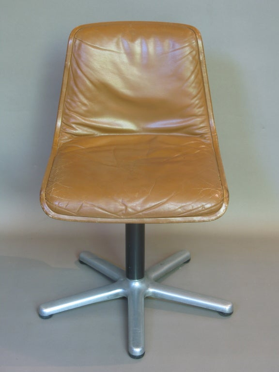 French Set of Four Leather Mid-Century Desk or Dining Chairs For Sale