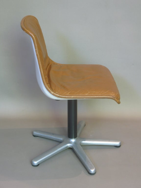 20th Century Set of Four Leather Mid-Century Desk or Dining Chairs For Sale